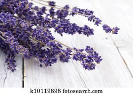 Lavender on rustic wood