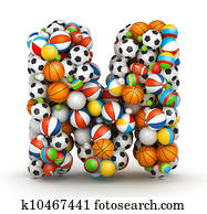 Letter M, gaming balls alphabet