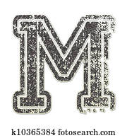 Letter M in College Glitter