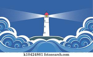leuchtturm, mit, blau, sea., vektor, symbol, karte