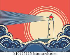 leuchtturm, mit, blau, sea., vektor, farbe, natur, plakat