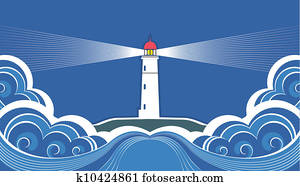 Lighthouse with blue sea. Vector symbol card