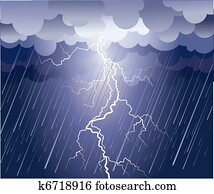 Lightning strike. Vector rain image with dark clouds
