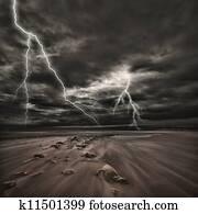 Lightning thunderstorm at sea