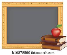 lineal, rahmen, chalkboard,, buecher, apfel