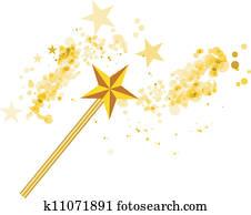 Magic wand with magic stars on white