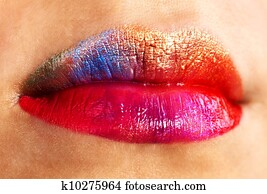 Make up of lips.