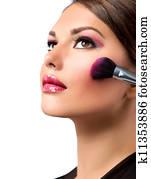 Makeup. Make-up Applying. Rouge. Blusher