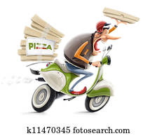 man delivering pizza on bicycle