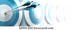 many blue targets and three arrows reaching the center of the first one, image fading from blue to white with blur effect, horizontal format dedicated for a banner. Strategic marketing or business com