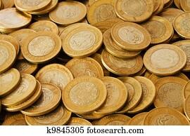 Ten mexican peso coin Stock Image | k12485921 | Fotosearch