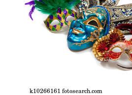 Mardi Gras or carnival mask on white