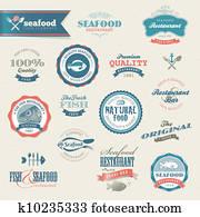 meeresfrüchte, etiketten, und, elemente