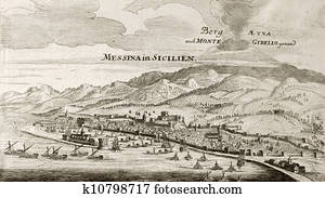 Messina and Etna old map