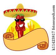 mexican hot chili label