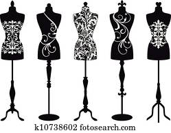 mode, mannequins,, vektor, satz