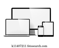 Modern Electronic Devices Isolated on White.