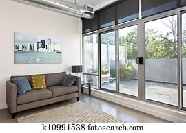 Modern living room and balcony