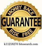 Money back guarantee golden sign, v