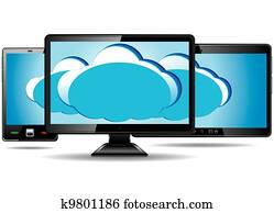 Monitor, tablet and smart phone with cloud