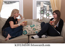 Mother and teenage daughter having a conversation