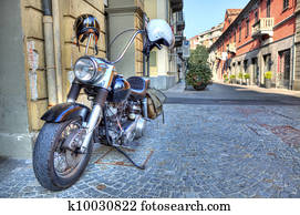 Motorcycle on the street. Alba, Italy.
