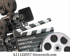 Movie composition. Vintage camera, reel and clapperboard.