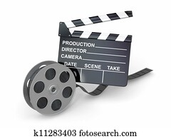Movie industry. Clapperboard and film reel.