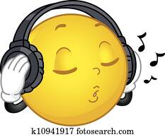 Music Emoji Emoticon Wearing Headphones Clipart | k31401771 | Fotosearch