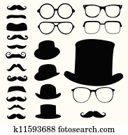 mustaches hats glasses