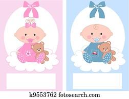 newborn baby boy and baby girl