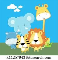 niedlich, safari, baby- tiere