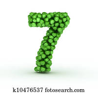 Number 7, alphabet of green apples