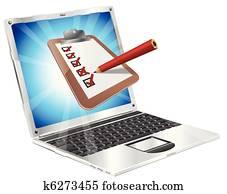 online, vermessung, laptop, notizbrett, begriff