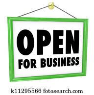 Open for Business Sign Hanging Store Window Door