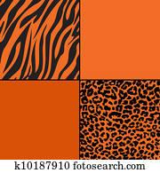 Orange Cheetah & Zebra Print Paper