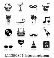 Party icons set - birthday, New Yea