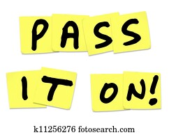 Pass It On Words Yellow Sticky Notes Spread Message News
