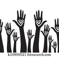People hand like heart united seamless background.