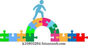 Person walking over puzzle bridge solution