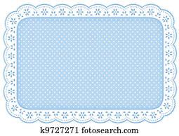 Place Mat Blue Polka Dot Lace Doily