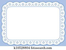 Placemat, Pastel Blue Eyelet Lace