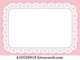 Placemat, Pastel Pink Eyelet Lace