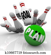 Plan Bowling Ball Hits Goal Pins Goals Accomplished