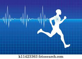 Pulse of running athlete