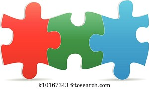 puzzel, drei, farbe
