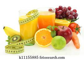 alimentation et nutrition fruits, légumes et jus frais