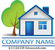 Real estate house and tree logo