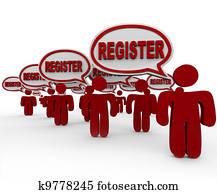 Register People Talking Speech Bubbles Join Club Registration