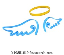 representation of angel wings and halo